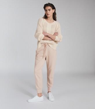 Reiss Ria - Wool Blend Open Knit Jumper in Cream