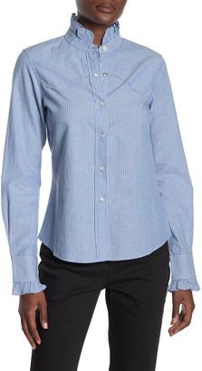 Nili Lotan Lissa Striped Ruffled Western Shirt