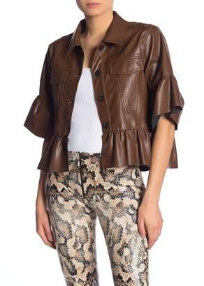 TOV Faux Leather Flounce Jacket