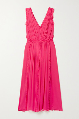Jason Wu Ruffled Silk-crepon Midi Dress - Bright pink
