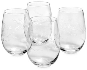 Hotel Collection Etched Floral Stemless Wine Glasses, Set of 4, Created for Macy's