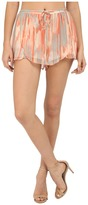 BB Dakota Dody Whimsical Waterfall Printed Crinkle Chiffon Cross Front Shorts