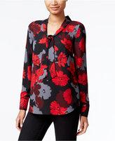 Kensie Floral-Print Tie-Neck Top