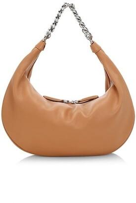 STAUD Sasha Snakeskin-Embossed Leather Shoulder Bag