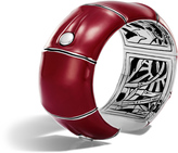 John Hardy Bamboo 32MM Kick Cuff in Silver and Enamel