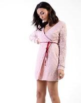 Glamorous Wrap Front Lace Dress