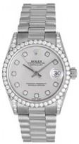 excellent (EX) Rolex Datejust 18k White Gold Diamond Ladies Midsize President Watch 68159 - Automatic winding.