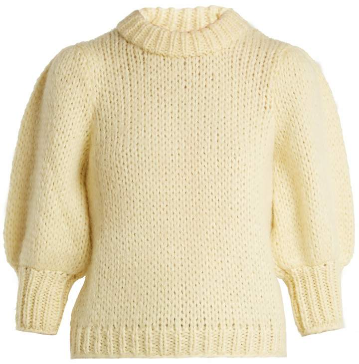 Ganni Julliard puff-sleeve mohair and wool-blend sweater
