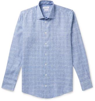 Richard James Slim-Fit Prince Of Wales Checked Linen Shirt