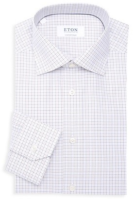 Eton Contemporary-Fit Grid Check Dress Shirt