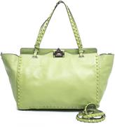 Valentino Green Leather Medium Rockstud Trapeze Bag