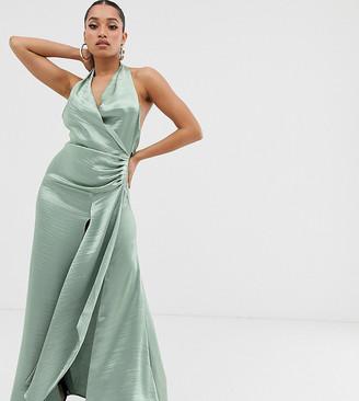 ASOS DESIGN Petite halter maxi dress in high shine satin with drape neck