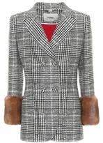 Fendi Fur-trimmed wool and silk blazer