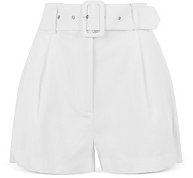 WAYF Titus Pinstriped Belted Shorts