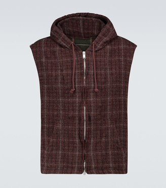 Undercover Checked wool gilet with hood