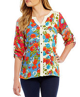 Multiples Petites Roll-Tab Sleeve Button Front Flower Print Shirt