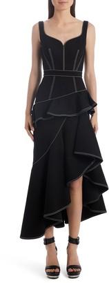 Alexander McQueen Contrast Stitch Asymmetrical Denim Dress