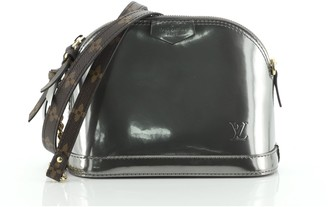 Louis Vuitton Alma Chain Handbag Vernis with Monogram Canvas Mini