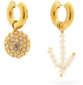 Timeless Pearly Mismatched Pearl & 24kt Gold-plated Hoop Earrings - Pearl