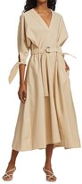 Thumbnail for your product : 3.1 Phillip Lim Belted Tie-Sleeve Midi Dress