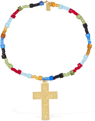 Rixo Arya Short Beaded Necklace W/ Crucifix