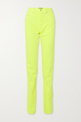 Kwaidan Editions Neon High-rise Straight-leg Jeans - Bright yellow
