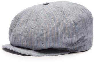 Lock & Co Hatters Amalfi Striped Slubbed-linen Flat Cap - Mens - Blue