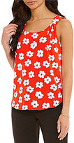 Jones New York Poppy Fields Print Shoulder Tie Tank Top