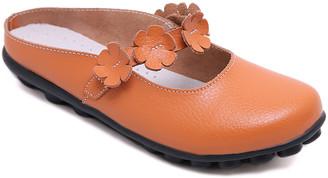 Rumour Has It Women's Mules Orange - Orange Floral-Accent Leather Mule - Women