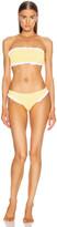 Hunza G Tracey Frill Bikini in Yellow & White | FWRD