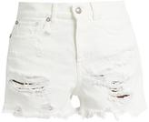 R 13 Shredded Slouch denim shorts