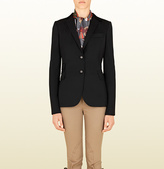 Gucci Black Techno Wool Riding Jacket From Equestrian Collection