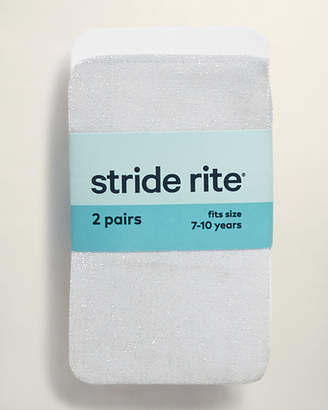 Stride Rite Girls 7-16) White Two-Pack Glitter Tights