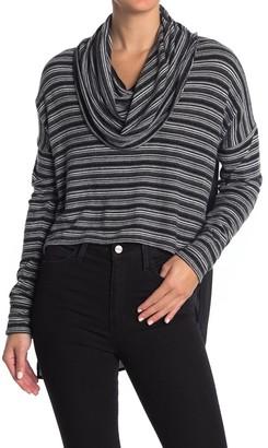 Fifteen-Twenty Cowl Neck Stripe High/Low Knit Top