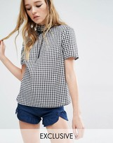 Reclaimed Vintage Liquid Lunch High Neck Top With Bow In Gingham