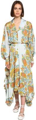 Lanvin Mulberry Flower Print Crepe Shirt Dress