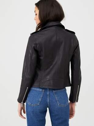 Whistles Agnes Pocket Leather Biker Jacket - Black