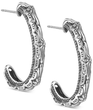 American West Patterned Hoop Earring in Sterling Silver