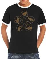 Touchlines Big Bang Theory Men's Ringer Contrast T-Shirt Stone Scissors Paper Lizard Spock Size:S