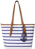 Peak Mall Women Handbag Stripes Single Shoulder PU Leather Tote Shoulder bag with Sea Anchor Pendant