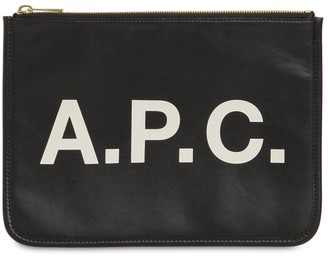 A.P.C. Logo Printed Faux Leather Pouch