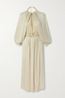 Dodo Bar Or Mika Belted Satin-crepe Midi Dress - Beige
