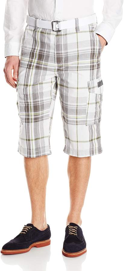 UNIONBAY Men's Belted Plaid Cargo Messenger Shorts