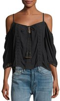 Band of Gypsies Cold-Shoulder Lace-Inset Blouse
