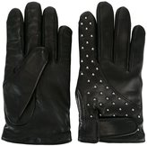 Les Hommes studded gloves - men - Leather/Cashmere - L