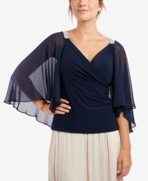 MSK Chiffon-Cape Embellished-Shoulder Top
