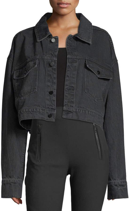 Alexander Wang Cropped Oversized Denim Jacket