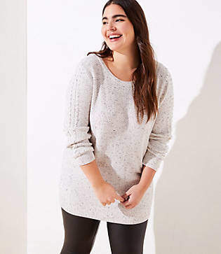 LOFT Plus Flecked Cable Sleeve Sweater