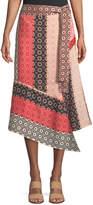 Derek Lam 10 Crosby Asymmetrical Geo-Print Silk Wrap Skirt