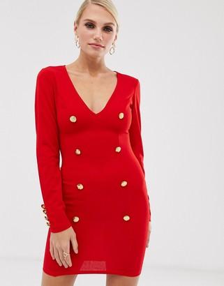 AX Paris plunge button front bodycon dress-Red